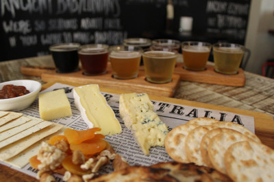 Beer tasting paddle and cheese board