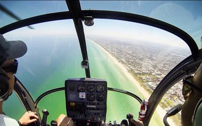 Doors off helicopter flight over Melbourne
