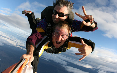 Tandem skydiving over the Hunter Valley