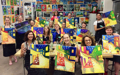 Paint and sip class Melbourne - Cork and Canvas