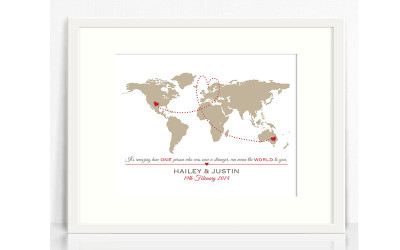 Personalised world map in frame