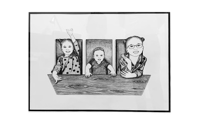 Personalised hand drawn portrait A3