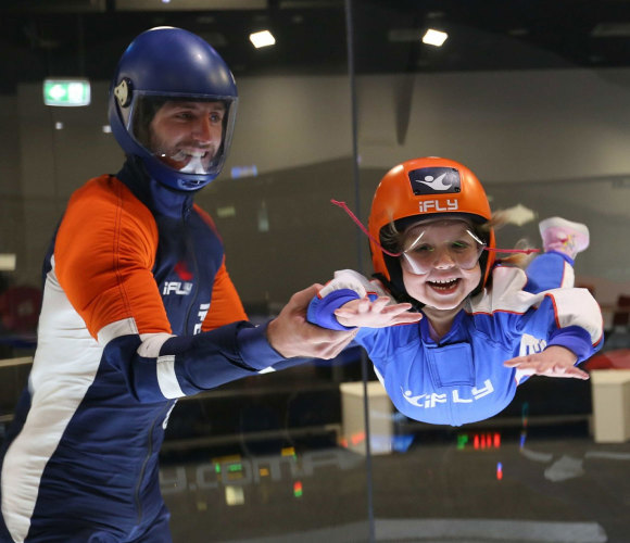 iFly Indoor Skydiving child with instructor