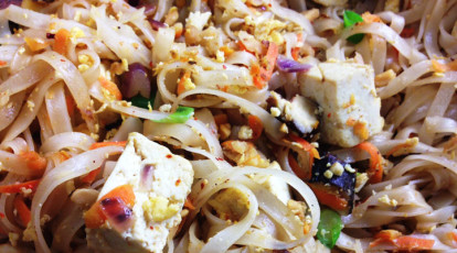 vegetarian Thai dish of tofu pad thai