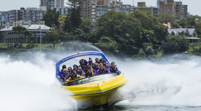 Thunder Jet Boat group riding on sydney harbour