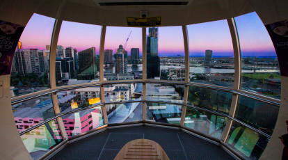 Melbourne Star Observation wheel with view of the city private cabin