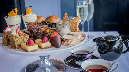 Spicers Balfour Hotel high tea with champagne sliders and dessert