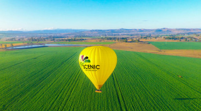 gold coast yellow hot air balloon over green field in blue cloudless sky background