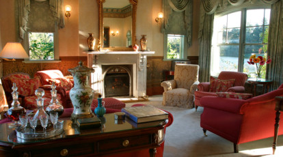 Woodman Estate Drawing Room with fire