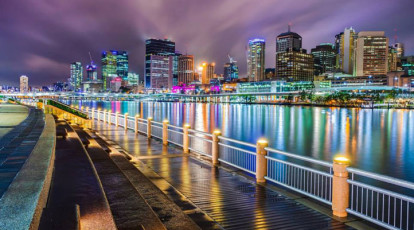 Kangaroo Segway Tours Brisbane city skyline at night queensland