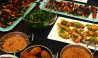Food platters of thai vegan and vegetarian dishes