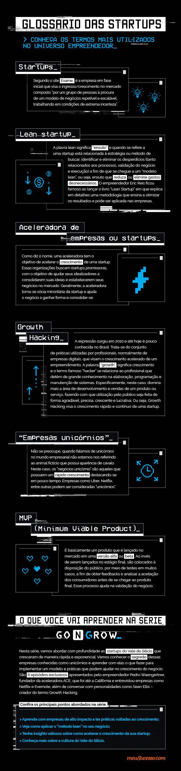 """Glossário das startups Conheça os termos mais utilizados no universo empreendedor Startups Segundo o site Exame, é a empresa em fase inicial que visa o ingresso/crescimento no mercado composto """"por um grupo de pessoas à procura de um modelo de negócios repetível e escalável, trabalhando em condições de extrema incerteza"""".  Lean startup A plavra lean significa """"enxuto"""" e quando se refere a uma startup está relacionada à estratégia ou método de buscar, identificar e eliminar os desperdícios (tanto relacionados aos processos, validação do negócio e execução) a fim de que se chegue a um """"modelo lean"""", ou seja, enxuto que reduza ou elimine gastos desnecessários. O empreendedor Eric Reis ficou famoso ao lançar o livro """"Lean Startup"""" em que explica em detalhes uma metodologia que ensina a otimizar os resultados e pode ser aplicada nas empresas. Aceleradora de empresas ou startups Como diz o nome, uma aceleradora tem o objetivo de acelerar o crescimento de uma startup. Essas organizações buscam startups promissoras, com o objetivo de ajudar seus idealizadores a consolidarem suas ideias e estabelecerem seus negócios no mercado. Geralmente, a aceleradora torna-se sócia minoritária da startup e ajuda o negócio a ganhar forma e consolidar-se. Growth Hacking A expressão surgiu em 2010 e até hoje é pouco conhecida no Brasil. Trata-se do conjunto de práticas utilizadas por profissionais, normalmente de empresas digitais, que visam o crescimento acelerado de um empreendimento. A palavra 'growth"""" significa crescimento e o termo famoso """"hacker"""" se relaciona ao profissional que detêm de grande conhecimento na elaboração, programação e manutenção de sistemas. Especificamente, neste caso, domina mais a área de desenvolvimento e vendas de um produto ou serviço, fazendo com que utilização pelo público seja feita de forma agradável, precisa, crescente e lucrativa. Ou seja, Growth Hacking visa o crescimento rápido e contínuo de uma startup. """"Empresas unicórnios"""" Não se preocupe, quando fala"""