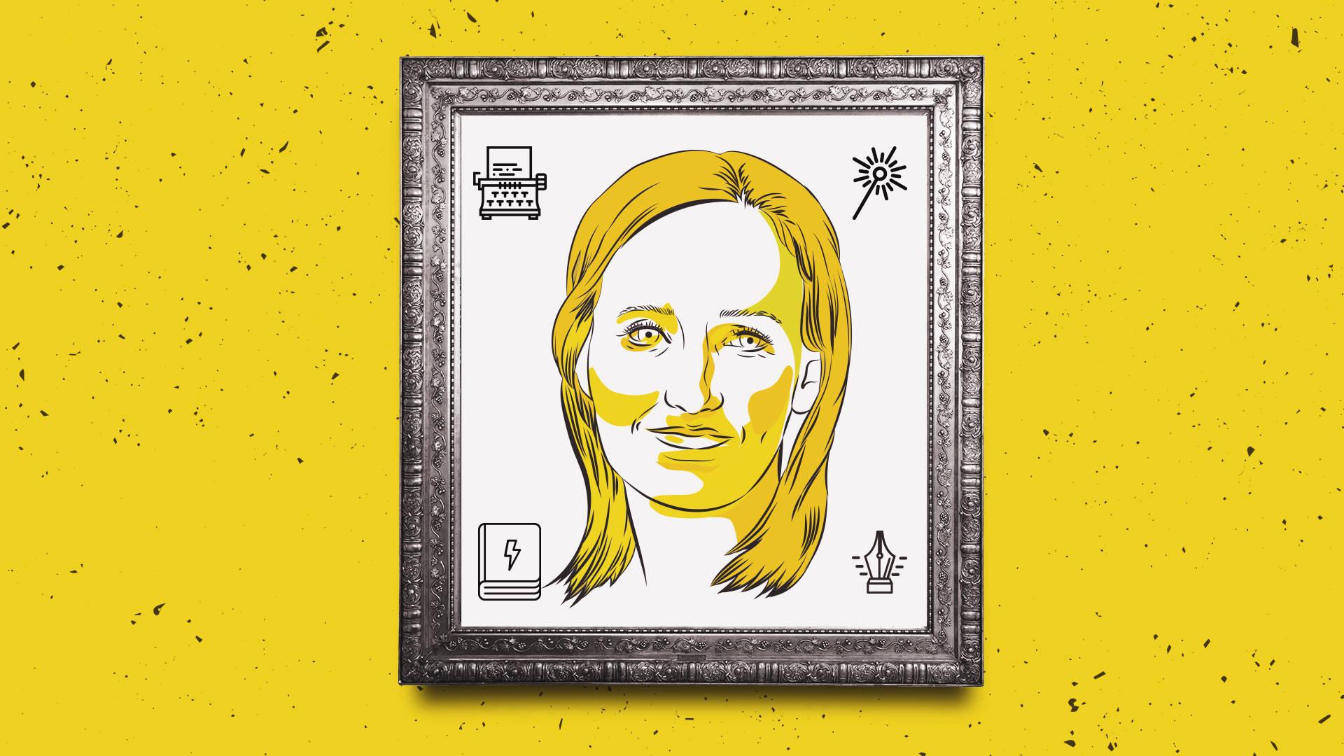 Ilustração do rosto da escritora J.K. Rowling, que escreveu a saga Harry Potter.