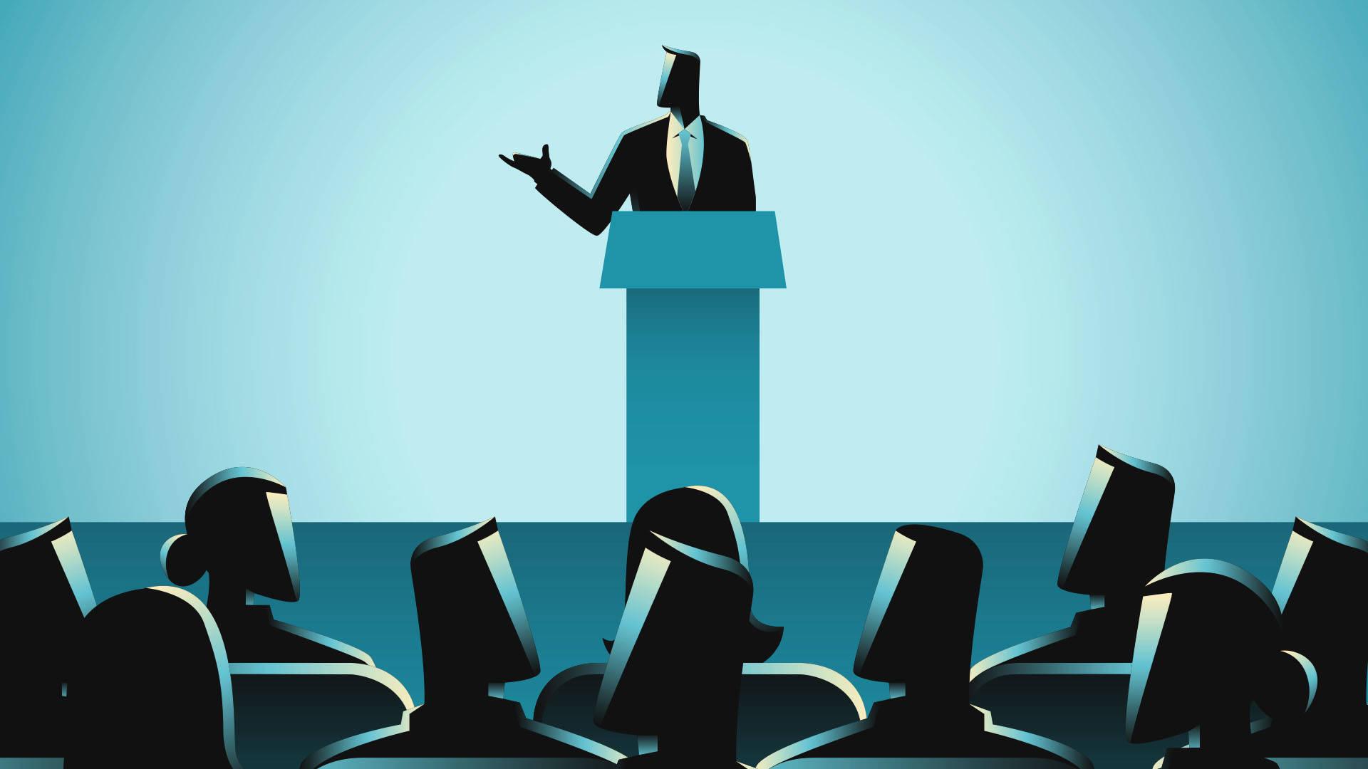 Ilustração de líder palestrando para os seus liderados.