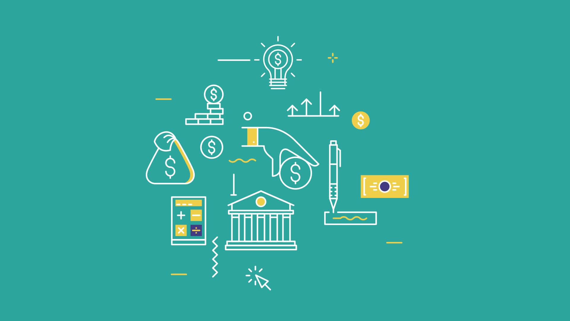 Na imagem, ilustrações que remetem a figuras relacionadas à área financeira.
