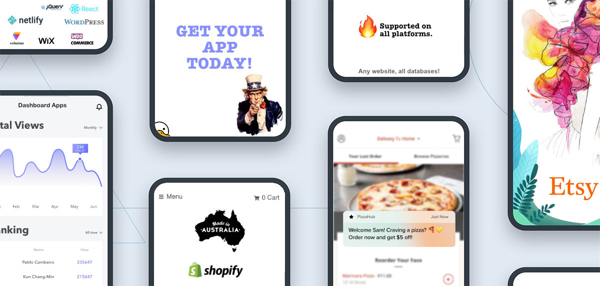 Convert your Shopify Etsy Netlify React Vuejs Wordpress ecommerce dashboard website into an iOS or Android mobile app