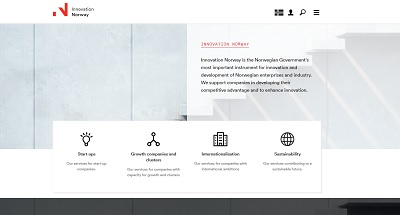 Snapshot of the Innovation Norway website