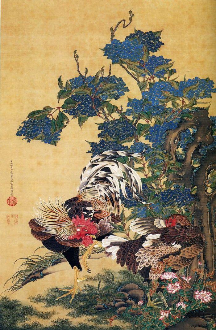 Rooster and Hen with Hydrangeas. Part of the series Dōshoku sai-e,by_Ito_Jakuchu, ukiyo-e