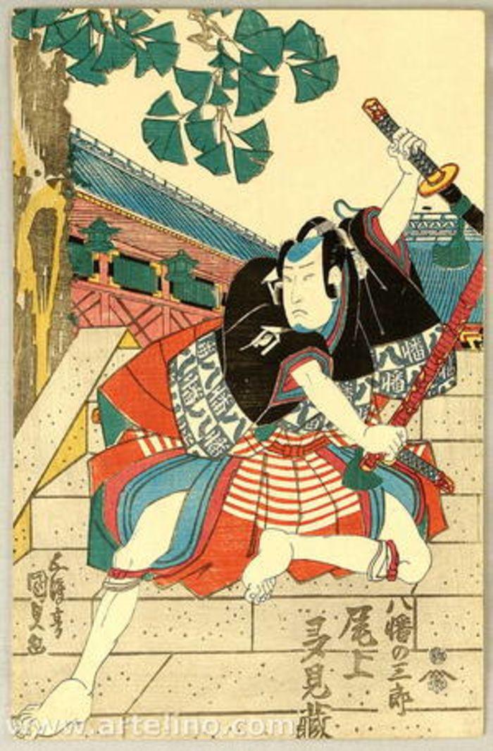 Showing Off on Staircase - Kabuki, by Utagawa Kunisada, c.1830, ukiyo-e, yakusha-e