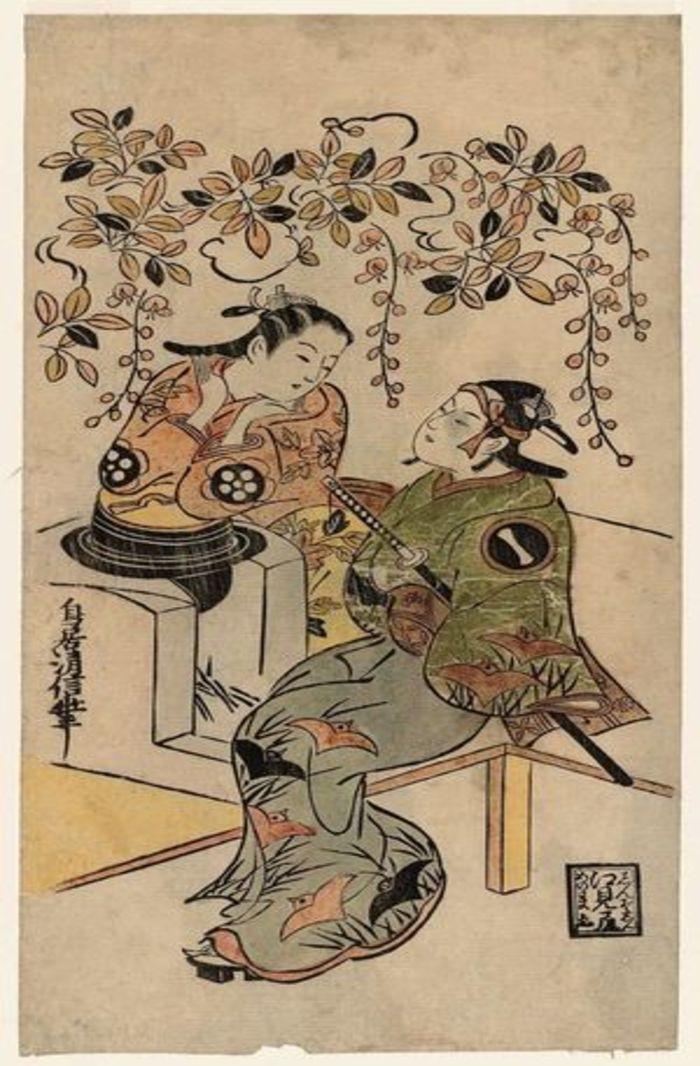 Ichikawa Monnosuke I as Karigane Bunshichi, and Dekijima Daisuke, by Torii Kiyonobu I, c. 1720, ukiyo-e, yakusha-e