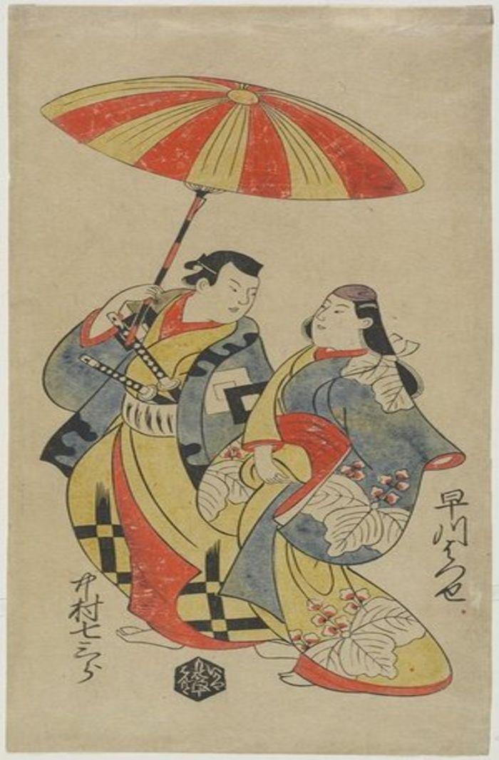 Nakamura Shichisaburo as Chihara Sakonnosuke and Hayakawa Hatsuse as The Courtesan Okuni, by Torii Kiyonobu I, c. 1702, ukiyo-e, yakusha-e