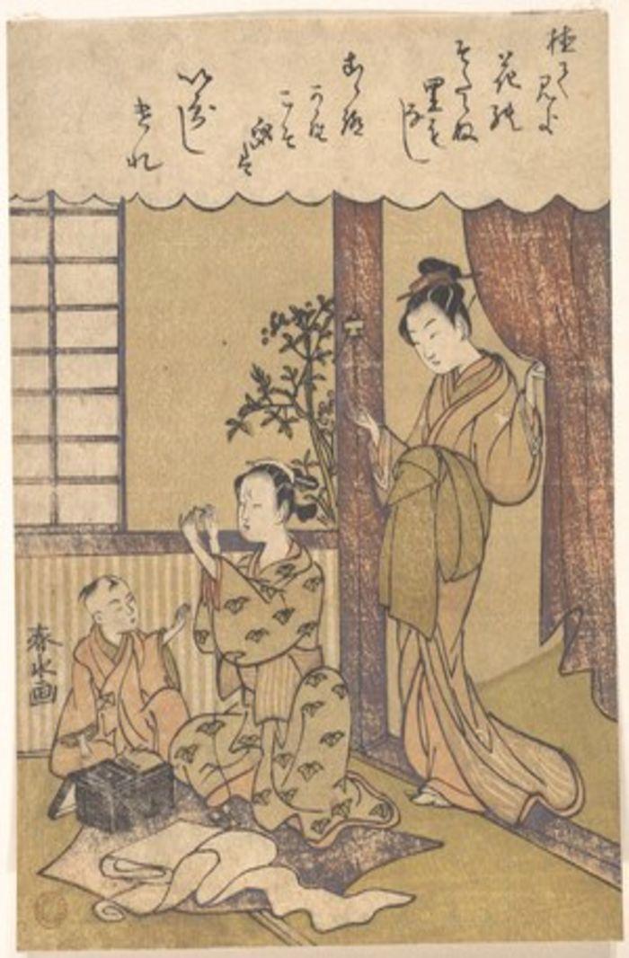 Domestic Scene, by Miyagawa Shunsui, c. 1780, ukito-e, yakusha-e