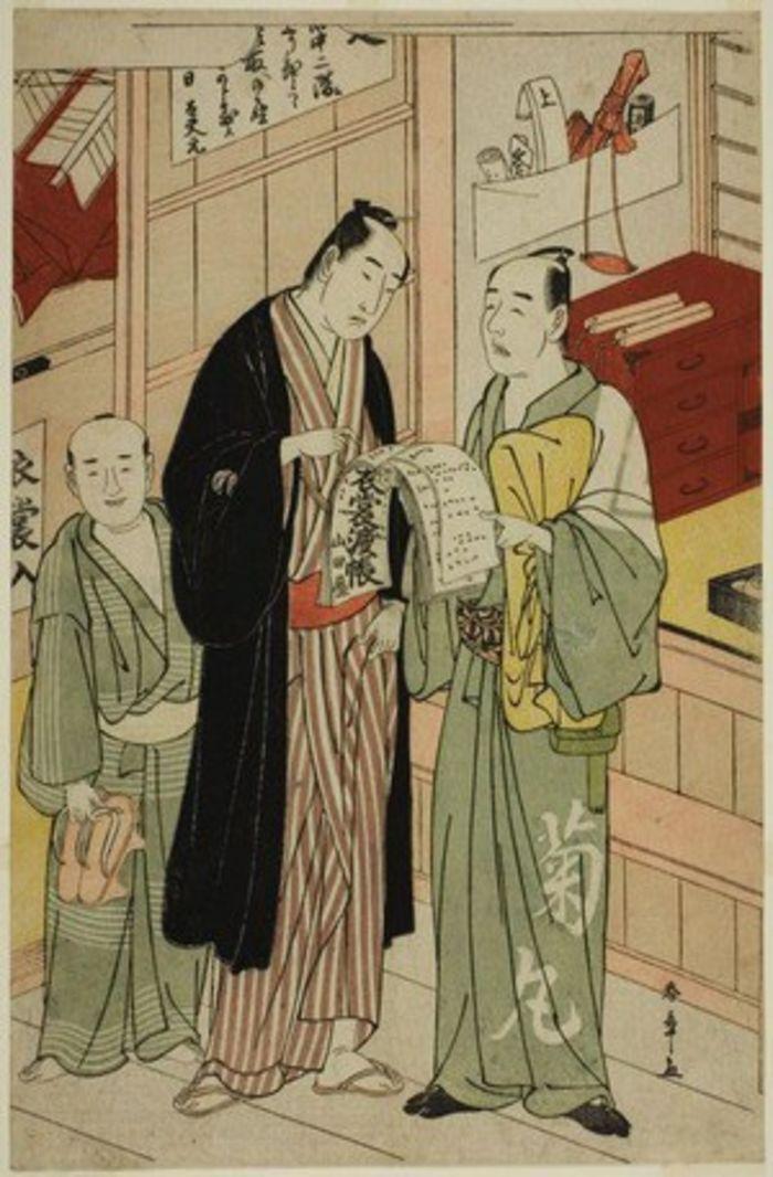Onoe Matsusuke I in the Wardrobe Room of a Theater, by Katsukawa Shunsho,c. 1783, ukiyo-e, yakusha-e