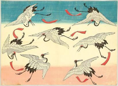 Flying Cranes by Utagawa hiroshige III