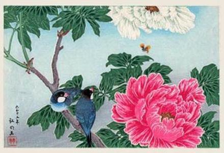 Peony and Paddy Birds, Shotei Takahashi, c. 1926, kacho-e