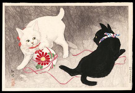 Playing cats, Shotei Takahashi, c. 1929, kacho-e