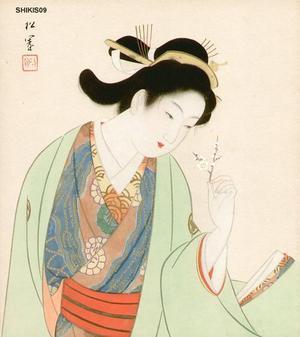 Beauty and plum blossom, by Uemura Shoen, bijin-ga