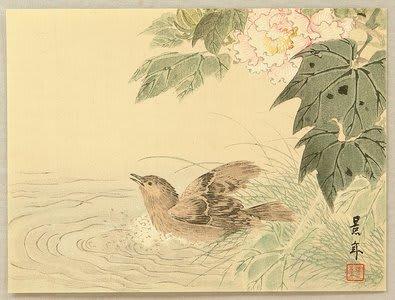 basing birds, Imao Keinen, c. 1892, kacho-e
