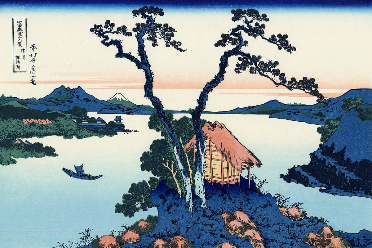 Lake Suwa in the Shinano province by hokusai, kacho-ga