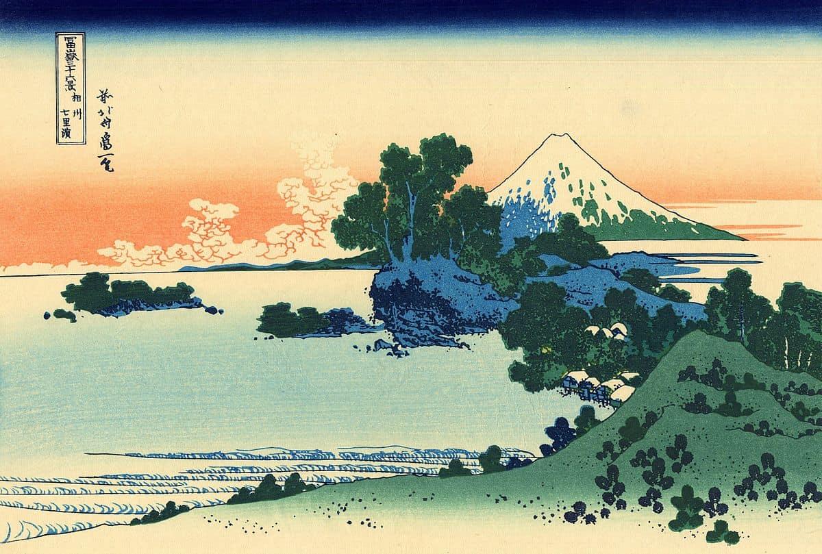 Shichiri beach in Sagami province by hokusai, kacho-ga