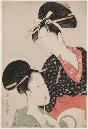 Women Holding a Pipe and a Round Fan, by Kitagawa Utamaro, c.1797, bijin-ga