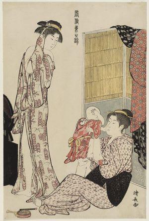 Woman in Bathrobe and Mother Playing with Baby, by Torii Kiyonaga, c. 1785, bijin-ga