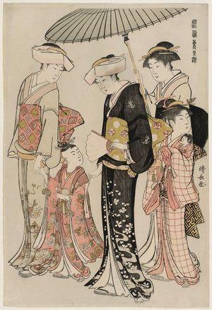 Young Girl and Four Attendants, by Torii Kiyonaga, c. 1784, bijin-ga