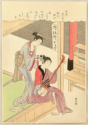 Combing Hair,by Suzuki Harunobu, c.1769, bijin-ga