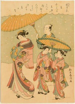 Courtesan Walking in the Snow, by Suzuki Harunobu, c.1769, bijin-ga