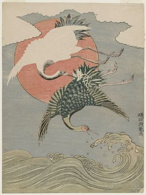 Cranes, Waves and Sun, Isoda Koryusai, c. Edo, kacho-e