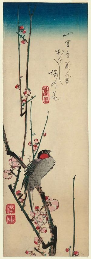 Red-cheeked Bird and Red Plum Blossoms by Utagawa Hiroshige, kacho-ga