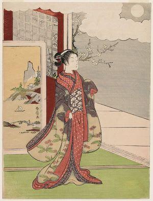 Woman Gazing at the Moon, by Suzuki Harunobu, c. 1766, bijin-ga