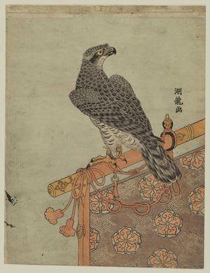 Falcon on Perch, Isoda Koryusai, c. Edo, kacho-e