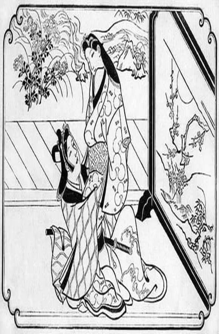 Early woodblock print, Hishikawa Moronobu, late 1670s, Ukiyo-e