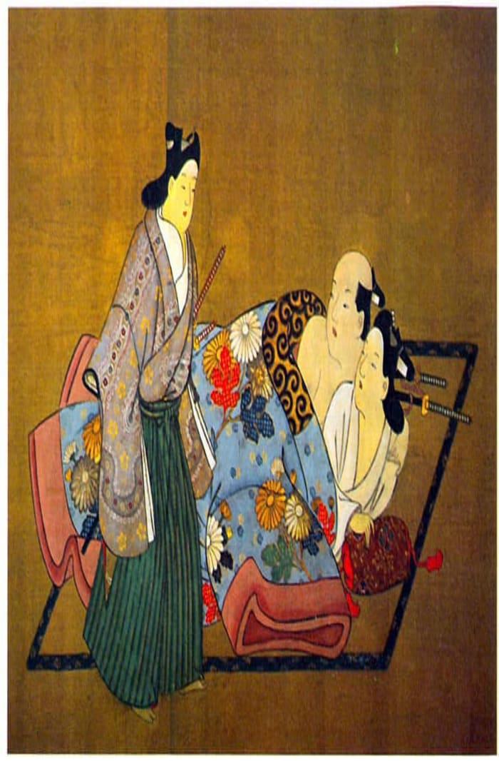 Three Samurai, the Flowered Robe by Miyagawa Chōshun