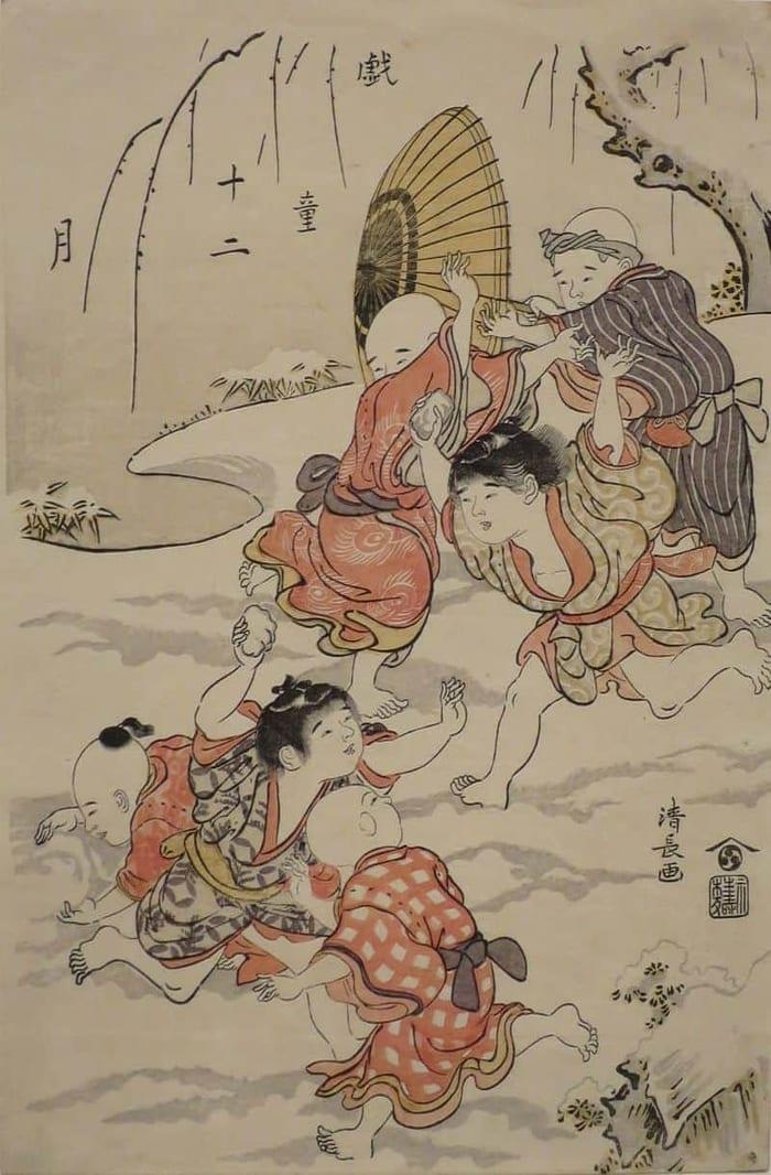 Snowball Fight, by Torii Kiyonaga