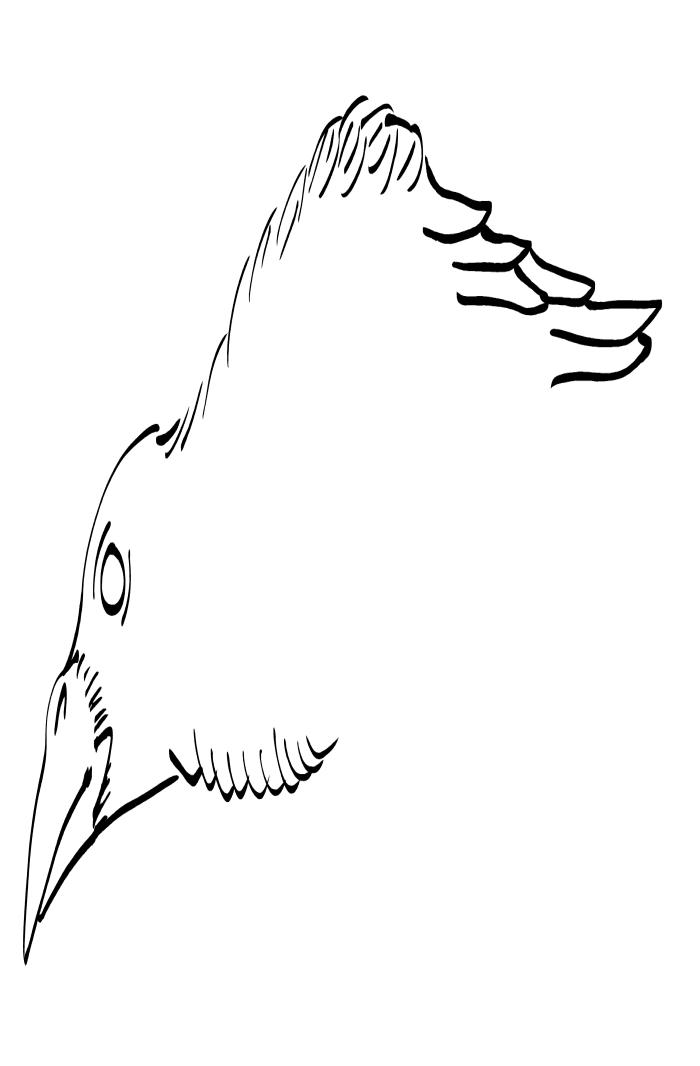 Crow Raven -ukiyo-e BlackandWhite3-(からす) by RedSparkle (11-2019)