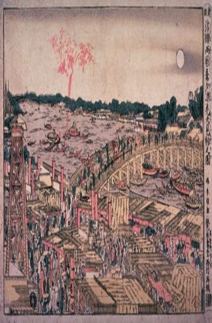 Watching Fireworks on a Cool Summer Evening at Ryogoku Bridge by Hokusai, ukiyo-e