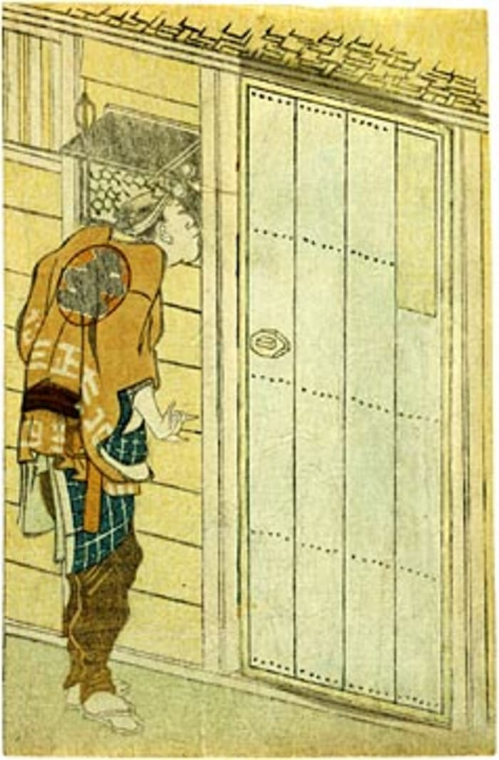 Hokusai, man peeping, ca. 1805, door close, shunga