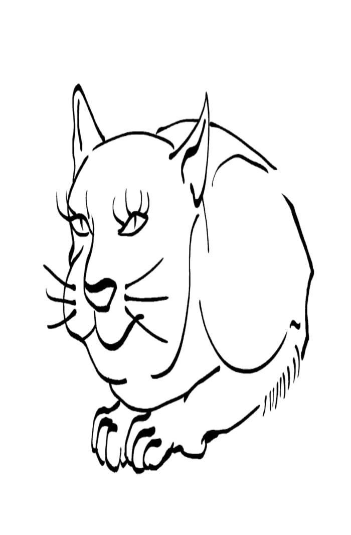 Cat -ukiyo-e BlackandWhite 8 - (猫) by RedSparkle (12-2019)
